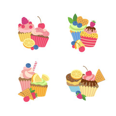 Vector cute cartoon muffins or cupcakes piles set isolated on white background illustration