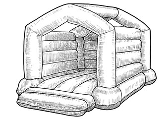 Bouncy castle illustration, drawing, engraving, ink, line art, vector