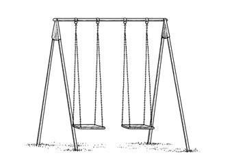 Swing illustration, drawing, engraving, ink, line art, vector