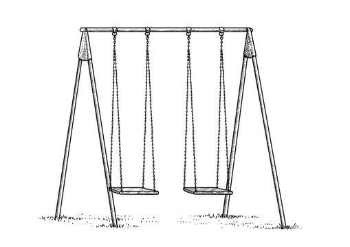 Swing illustration, drawing, engraving, ink, line art, vector