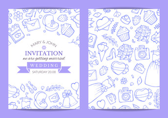 Vector doodle wedding invitation template poster and banner illustration flat
