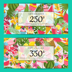 Vector flat cute summer elements, cocktails, flamingo, palm leaves discount or gift voucher templates illustration
