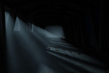 3d rendering of an old covered wooden bridge at darken foggy night