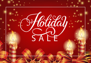 Holiday Sale with festive candles coupon design. Calligraphy with candles, bands and sparkles on red background. Can be used for coupons, sales, discounts