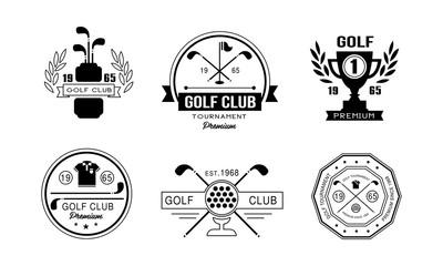 Golf club premium logo design set, golfing club retro badges, sport tournament or competition vintage labels vector Illustration on a white background