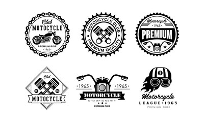Motorcycle club logo set, retro badges for biker club, auto parts store, repair service vector Illustration on a white background