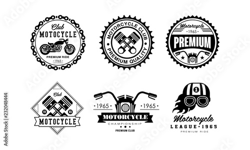 Motorcycle club logo set, retro badges for biker club, auto parts