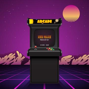 Arcade machine screen, retro vector background