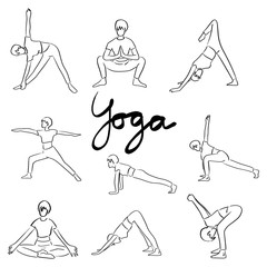 Yoga set with women in different poses vector illustration sketch doodle hand drawn with black lines isolated on white background