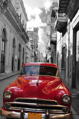Printed roller blinds Havana Retro car red and black-white photo of the old Havana street. Cuba. artistic photo.