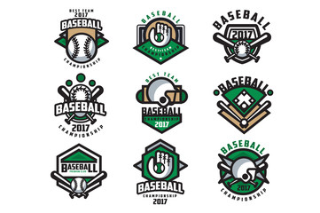 Collection of colorful baseball logos. Labels with balls, gloves, bats and protective helmets. Linear sports emblems. Flat vector design for team badge