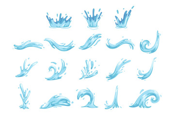 Set of blue waves and water splashes, wavy symbols of nature in motion vector Illustrations Fototapete