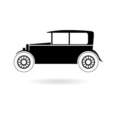 Black Old motor vehicle icon or logo