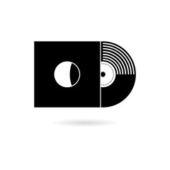 Black Vinyl record, Retro concept icon or logo