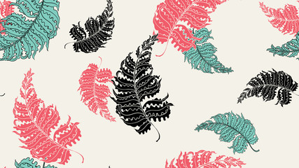 Floral seamless pattern, hand drawn Barnsley fern on light yellow background, red, green and black tones