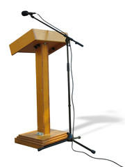 Wooden podium tribune stand rostrum with microphone isolated on white background