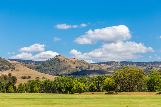 View of the landscape in the Upper Hunter Valley, NSW, Australia.