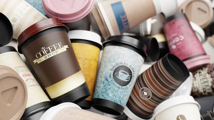 Hintergrund aus vielen Abfall Kaffeebechern