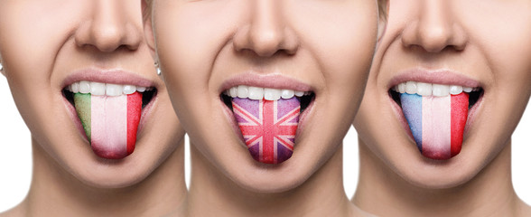 Collage of young woman shows painted tongue with different flags.