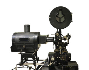 Old-fashioned cinema movie vintage film projector isolated on white