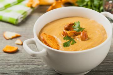 Delicious soup, cream with mushroom chanterelles.