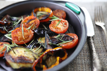 Poster Appetizer Vegetables grilled pan fried eggplant and tomatoes