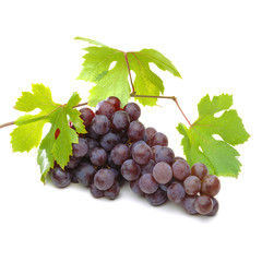 Bunch of red, blue or dark black grapes isolated on white background