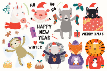 Big set with cute animals doing winter, Christmas activities, typography. Isolated objects on white background. Hand drawn vector illustration. Scandinavian style flat design. Concept for kids print.