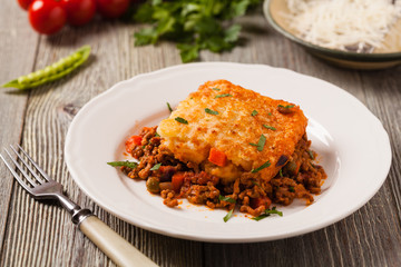 Cottage pie with beef and potatoes