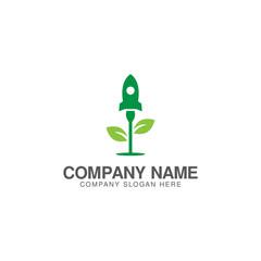 Grow rocket green logo design vector template