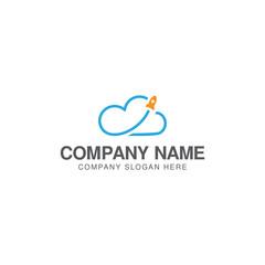 Cloud rocket logo design vector template