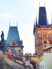 Wall Murals Prague Charles Bridge in Prague, Czech Republic. Downtown, skyline on sunset, Lesser Town Bridge Towers, sculptures of Charles Bridge