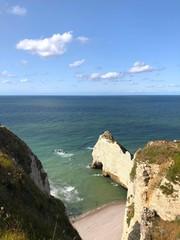 Vista della scogliera, Étretat, Normandia, Francia
