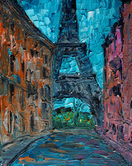 Art painting of Paris street with Eiffel Tower