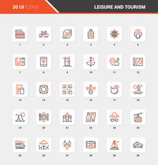 Leisure and Tourism Flat Line Web Icon Concepts
