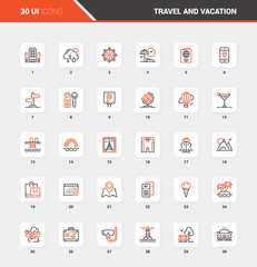 Travel and Vacation Flat Line Web Icon Concepts