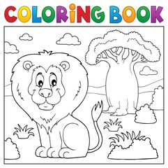 Coloring book African nature topic 3