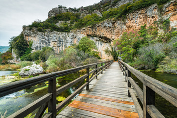 Wooden bridge in Krka National Park,Croatia