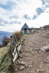 Stone toilet in Lukomir, remote village in Bosnia