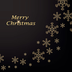 Merry Christmas greeting card with gold snowflake