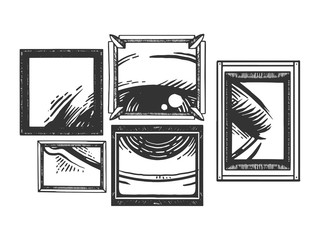 Eye in painting frames engraving vector illustration. Scratch board style imitation. Black and white hand drawn image.