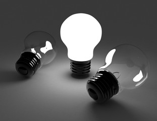 idea concept . light bulbs . 3d rendered illustration
