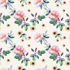 Watercolor meadow herbs and flowers seamless pattern