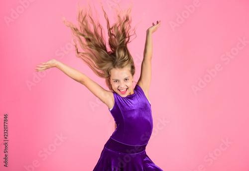 Ballroom Latin Dance Hairstyles Kid Girl With Long Hair Wear Dress