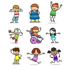 Viele Kinder als Cartoon Clipart Icons