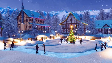 Wall Mural - Crowd of people dance and celebrate Xmas or New Year near outdoor decorated Christmas tree on snow covered square of cozy alpine mountain township at winter night. Festive 3D animation rendered in 4K