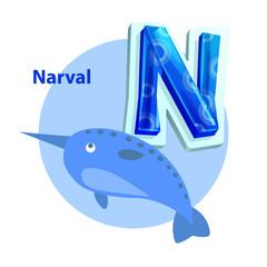 Narval is for N Letter Cartoon Children Alphabet
