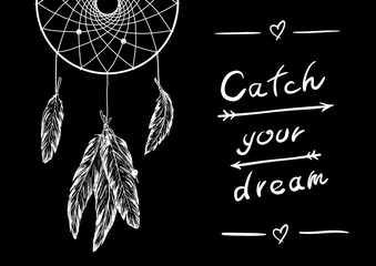 Vector monohrome hand draw illustration dreamcatcher with feathers and design lettering