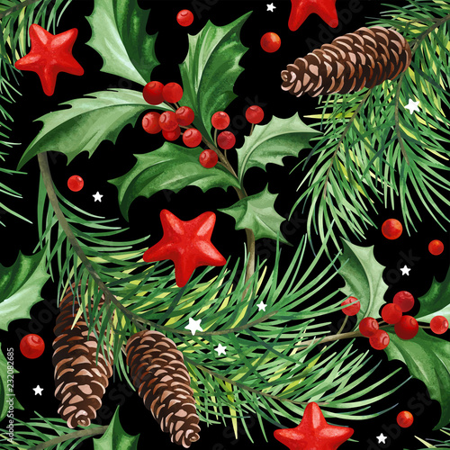 Seamless Pattern With Christmas Symbol Holly Leaves