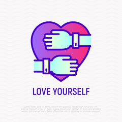 Love yourself thin line icon: hands hug heart. Modern vector illustration of selfcare and self acceptance.
